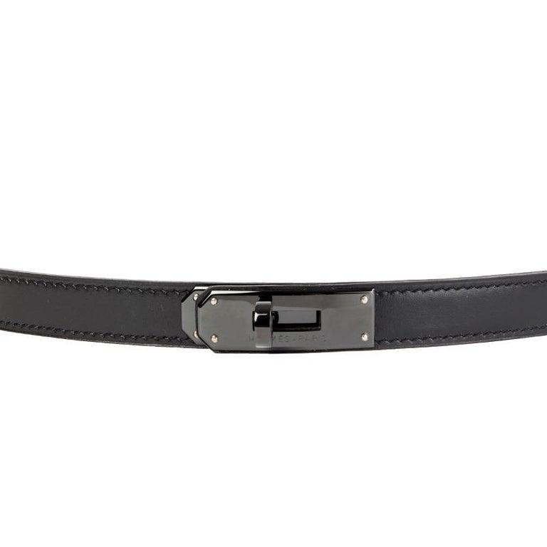 Black HERMES black Box leather JOSEPHINE Belt 90  For Sale