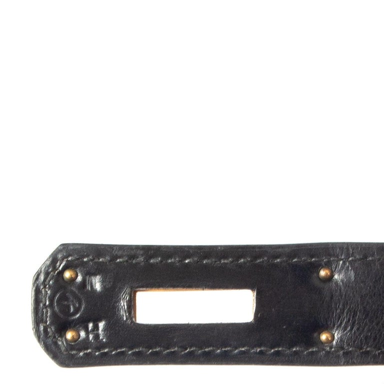 HERMES black Box leather KELLY 35 SELLIER Bag Gold For Sale 5