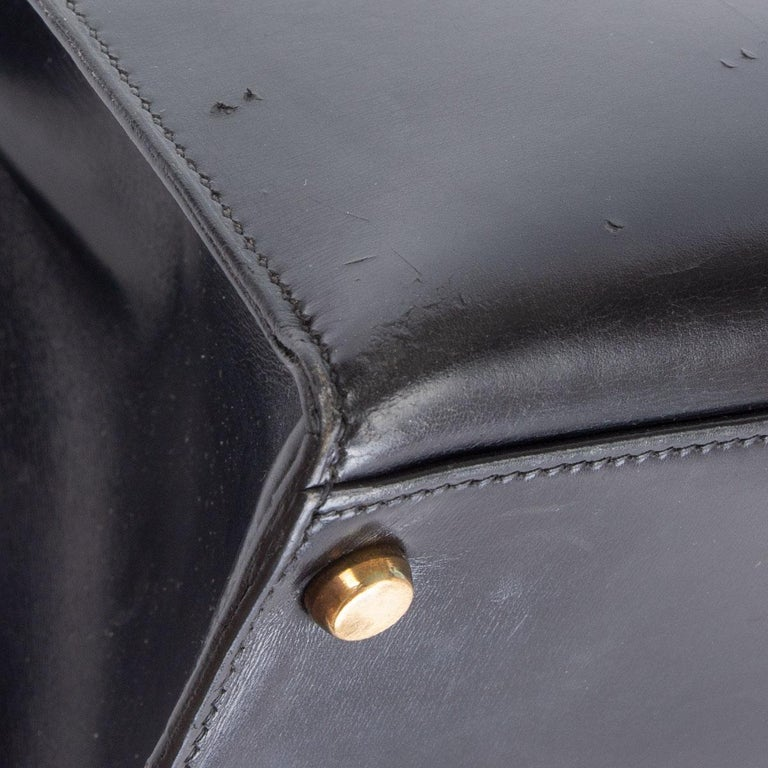 HERMES black Box leather KELLY 35 SELLIER Bag Gold For Sale 9