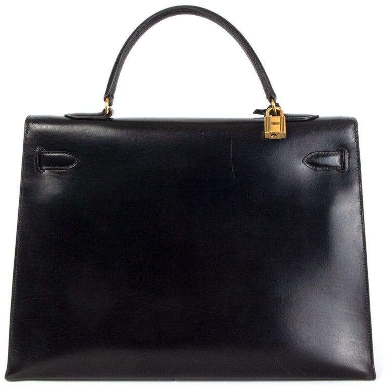 Black HERMES black Box leather KELLY 35 SELLIER Bag Gold For Sale