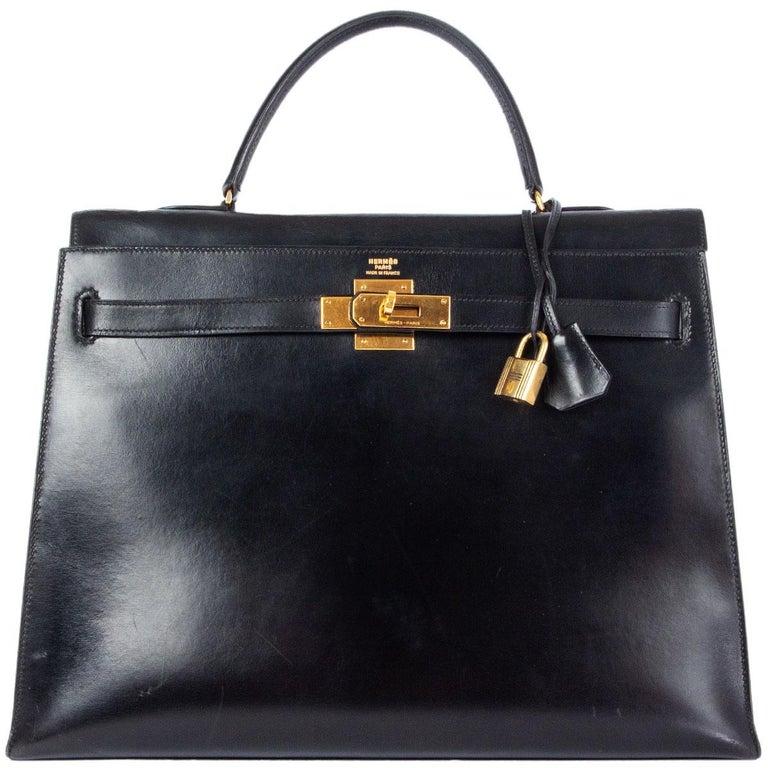 Women's HERMES black Box leather KELLY 35 SELLIER Bag Gold For Sale