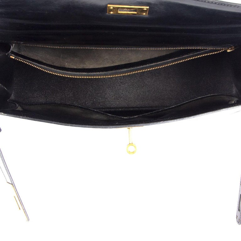 HERMES black Box leather KELLY 35 SELLIER Bag Gold For Sale 1