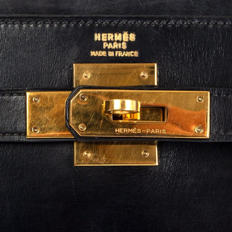 HERMES black Box leather KELLY 35 SELLIER Bag Gold For Sale 2