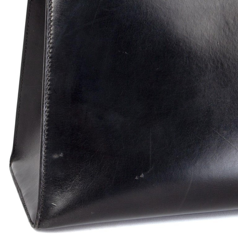 HERMES black Box leather KELLY 35 SELLIER Bag Gold For Sale 3