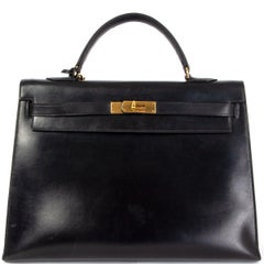 HERMES black Box leather KELLY 35 SELLIER Bag Gold