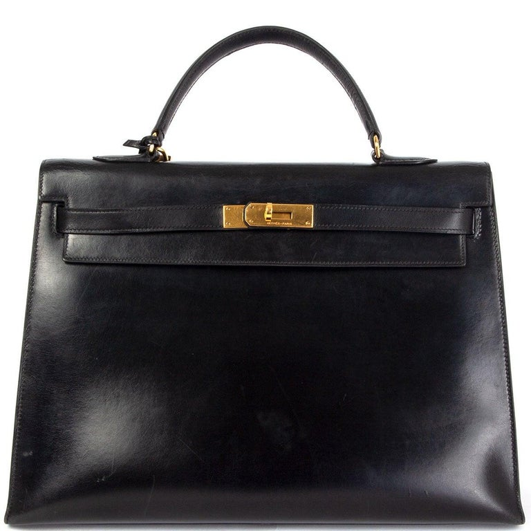 HERMES black Box leather KELLY 35 SELLIER Bag Gold For Sale