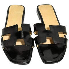 Hermes Black Box Leather Oran Sandals With H Crossover Hermes Strap