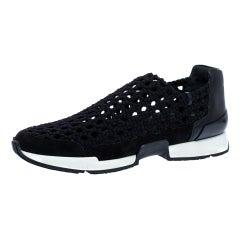 Hermes Black Braided Silk Oxygene Slip On Sneakers Size 37.5