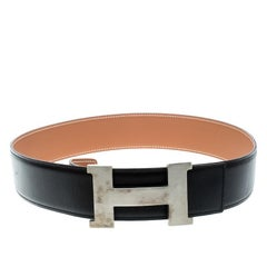 Hermes Black/Brown Box Calf Leather Reversible Constance Buckle Belt 75cm