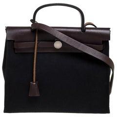 Hermes Black/Brown Canvas and Leather Herbag Zip 31 Bag