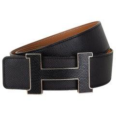 HERMES Black Brown CONSTANCE 42MM REVERSIBLE H Belt 85 LIZARD BUCKLE