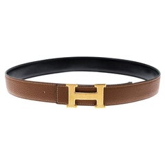 Hermès Black/Brown Leather Reversible Gold Grooved Finished H Buckle Belt 85cm