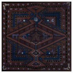 HERMES black brown OR'S D'AFRIQUE 90 silk twill Scarf