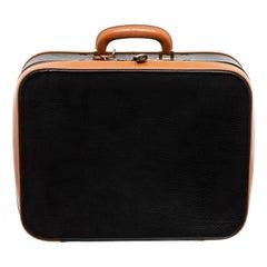 Hermes Black Brown Pebbled Leather Suitcase