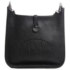 Hermes Black Buffalo Evelyne  I PM Cross-Body  Black Messenger Bag