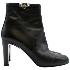 Hermes Black Calfskin Leather Ankle Boots size 38