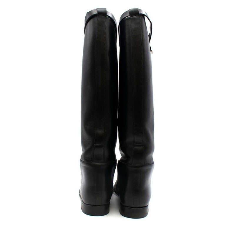 Hermes Black Calfskin Leather Riding Boots 39 In Excellent Condition For Sale In London, GB