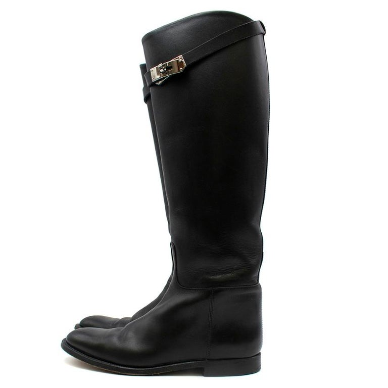 Women's Hermes Black Calfskin Leather Riding Boots 39 For Sale