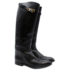 Hermes Black Calfskin Leather Riding Boots 39