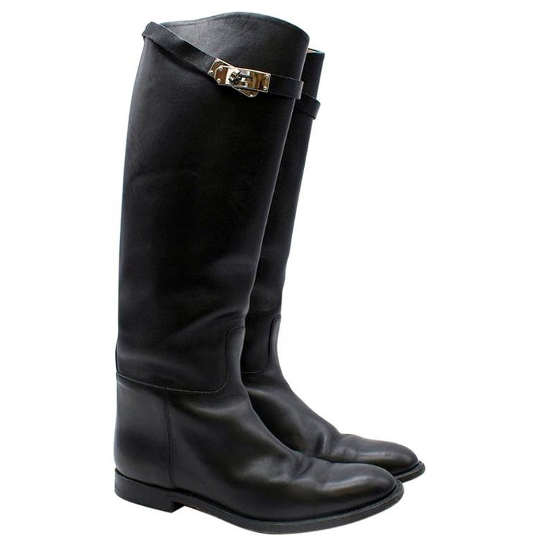 Hermes Black Calfskin Leather Riding Boots 39 For Sale