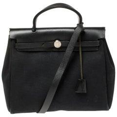 Hermès Black Canvas and Leather Herbag Zip 31 Bag