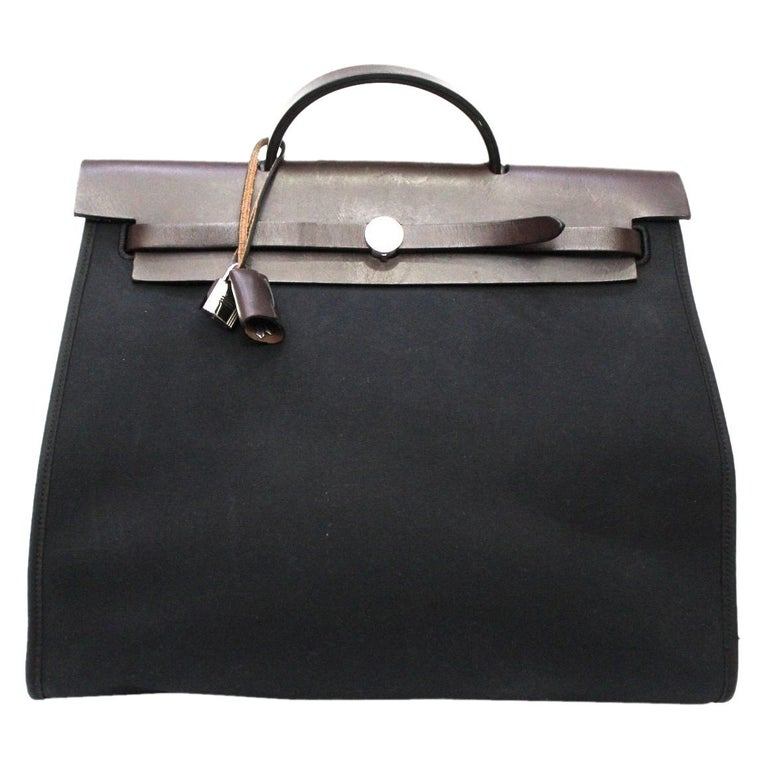 Hermès Black Canvas and Leather Herbag Zip 39 Bag For Sale