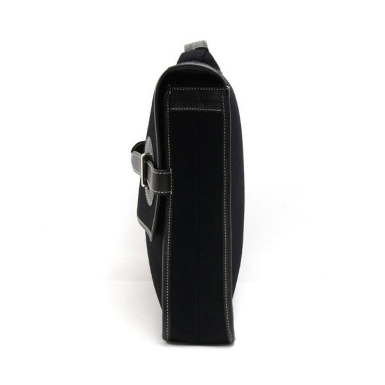 Hermes Black Canvas Leather Buckle Flap Top Handle Business Briefcase Bag In Good Condition For Sale In Chicago, IL