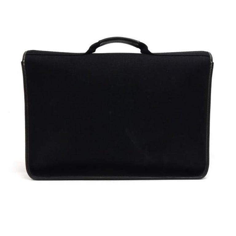Men's Hermes Black Canvas Leather Buckle Flap Top Handle Business Briefcase Bag For Sale