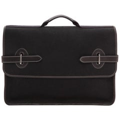Hermes Black Canvas Leather Buckle Flap Top Handle Business Briefcase Bag