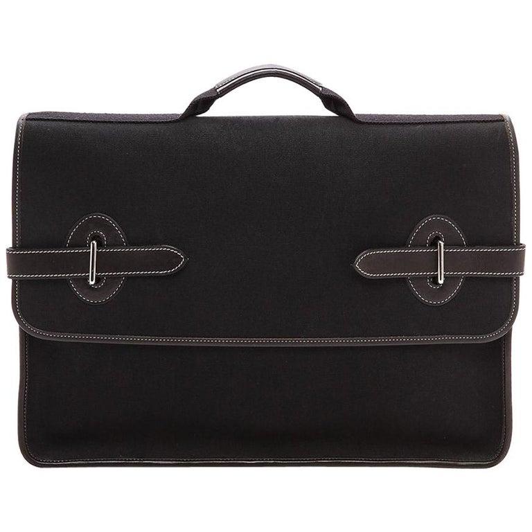 Hermes Black Canvas Leather Buckle Flap Top Handle Business Briefcase Bag For Sale