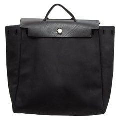 Hermes Black Canvas & Leather Herbag