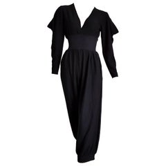 HERMES black cashmere and silk jumpsuit with elasticated waistband - Unworn, New