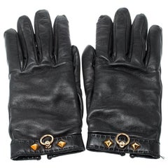 Hermes Black Cashmere Lambskin Leather Louise Gloves Size 7
