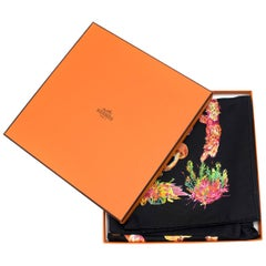 Hermes Black 'Champignons' Silk Scarf  One Size