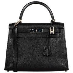 Hermes Black Chevre Leather 28cm Rigid Sellier Kelly Bag