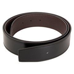 HERMES black & Chocolat brown Reversible 38mm Belt Strap 115