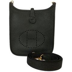 Hermès Black Clemence Evelyne TPM Bag Gold Hardware