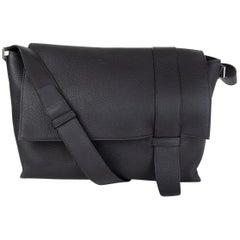 HERMES black Clemence leather ALFRED 35 Messenger Bag