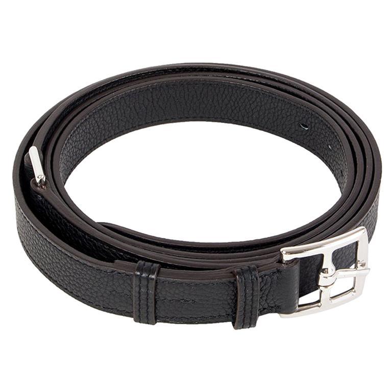 HERMES black Clemence leather ETRIVIERE 26mm Double Wrap Belt 90