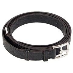 HERMES black Clemence leather ETRIVIERE 26mm Double Wrap Belt 95