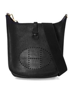 Hermes Black Clemence Leather Evelyne I PM Messenger Bag