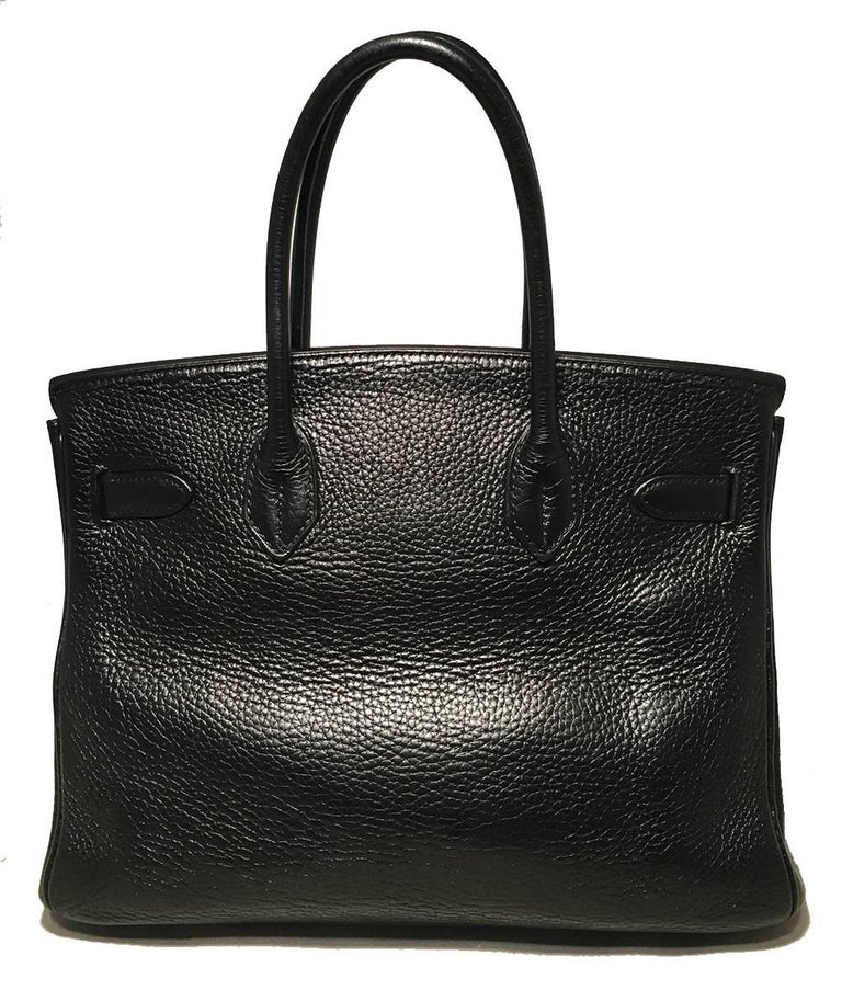 Hermes Black Clemence Leather Gold GHW 30cm Birkin Bag In Excellent Condition For Sale In Philadelphia, PA