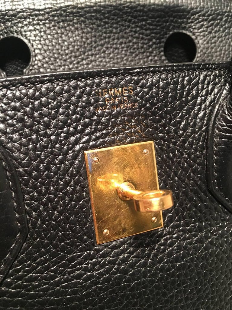 Hermes Black Clemence Leather Gold GHW 30cm Birkin Bag For Sale 4