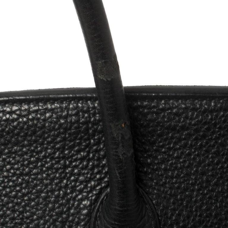 Hermes Black Clemence Leather Gold Hardware Birkin 35 Bag For Sale 6