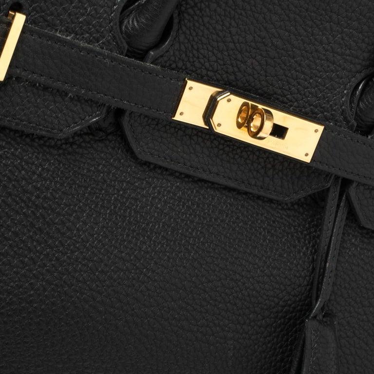 Hermes Black Clemence Leather Gold Hardware Birkin 35 Bag For Sale 7