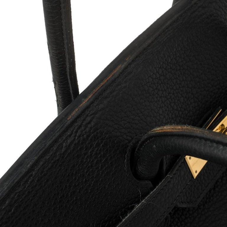Hermes Black Clemence Leather Gold Hardware Birkin 35 Bag For Sale 10
