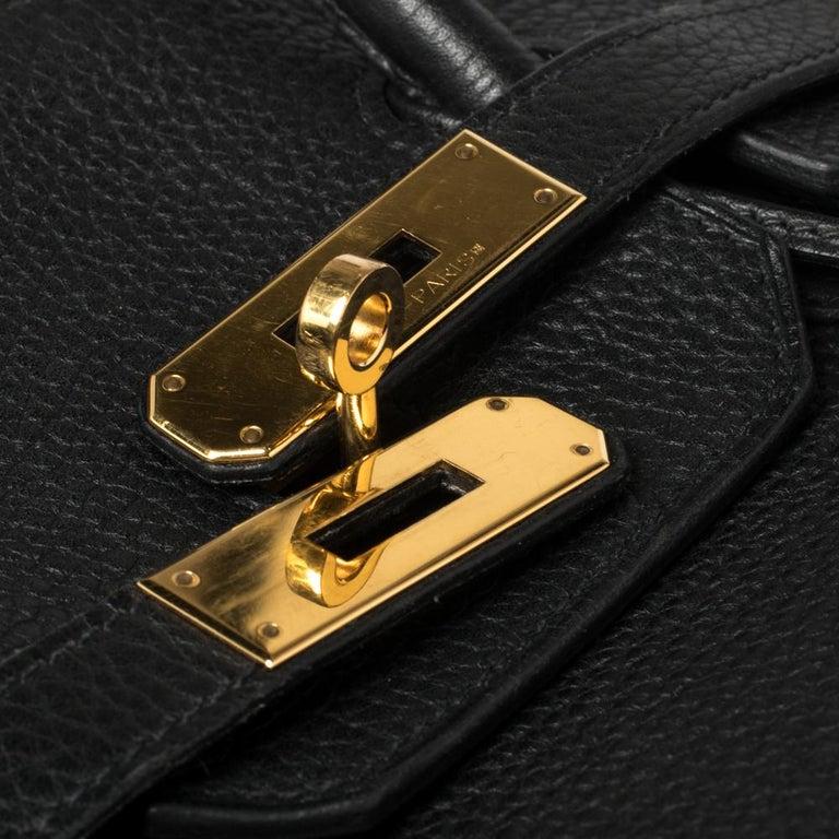 Hermes Black Clemence Leather Gold Hardware Birkin 35 Bag For Sale 11