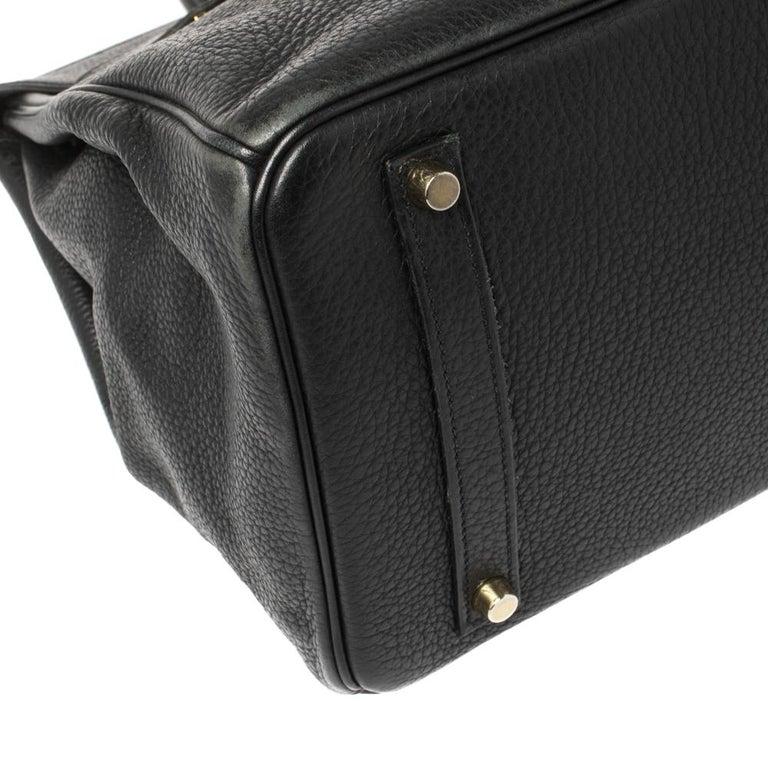 Hermes Black Clemence Leather Gold Hardware Birkin 35 Bag For Sale 14