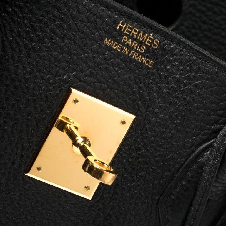 Hermes Black Clemence Leather Gold Hardware Birkin 35 Bag For Sale 15