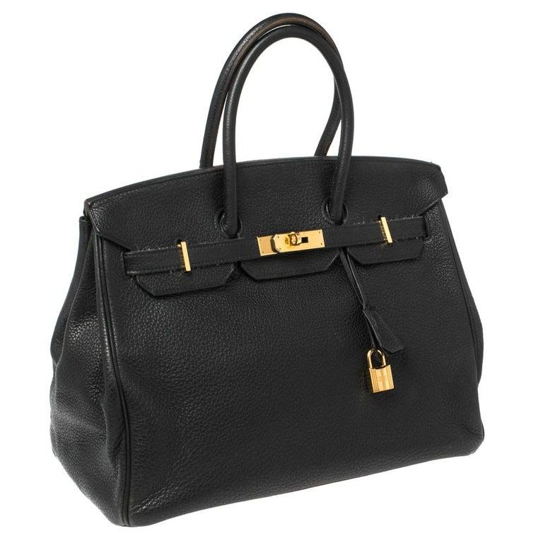 Women's Hermes Black Clemence Leather Gold Hardware Birkin 35 Bag For Sale